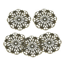 20 Bronze Tone Filigree Charms Hollow Round Flower Wraps Metal Connectors 41mm