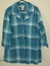 Button Down Shirt Check 3/4 Sleeve Tops & Blouses for Women