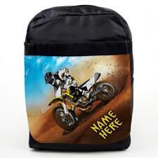 PERSONALISED Kids School Bag DIRTBIKE Backpack Boys MOTOCROSS NAME ST512