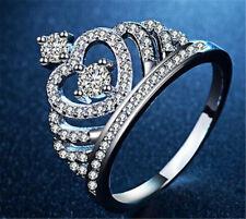 Women 18K White Gold Filled Topaz Wedding Anniversary Ring Jewelry Size 6-10