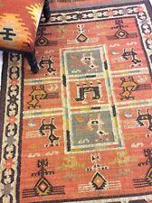 Rust Black Tribal Nomadic Natural Fibres Handmade Jute Wool Kilim Rugs & Runner