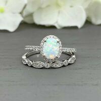 2.50Ct Oval Cut Opal & Diamond Halo Wedding Bridal Ring Set 14K White Gold Over
