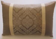 Damask Printed Rectangle Cushion - Brown/Cream - Feather Filled 50 x 34cm