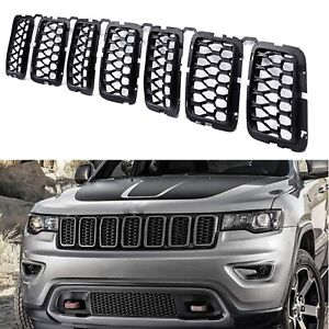 For 2017-20 Jeep Grand Cherokee Matte Black Front Grille Mesh Honeycomb Inserts
