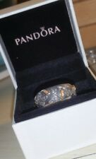 Rare--PANDORA Tree of life leaves leaf 14k yellow gold sterling silver band ring