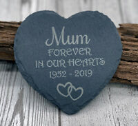 Forever In Our Heart Personalised Heart Slate Grave Stone Memorial Plaque Marker