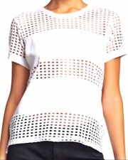 Catherine Malandrino Woven Piecing White Top Size Medium New With Tags NWT