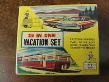 RARE Japan Tin Toy  M.T Toys  5 in One Vacation Set MIB CAR BOAT TRAILER