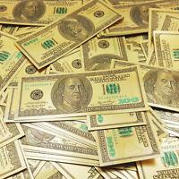 Hot $100 dollar 10pcs 1:1 24k Gold Foil Golden USD Paper Money Banknotes Crafts