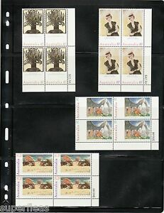 1996 Australia Day postage stamp block set Paintings art & artists MNH Sc 1573/6