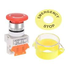 New Listing22mm Latching Emergency Stop Push Button Switch W Protective Cover 60mm Sign 1nc