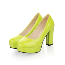 Womens Block High Heel Pantent Leather Party Pumps Shoes UK Size 1.5--8 C145