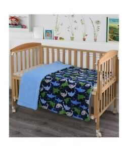 Shark Theme Flannel Toddler Bed Blanket Size 40 x 50 By Angela Baby