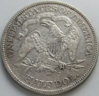 1876-CC Seated Liberty Silver Half in a SAFLIP® - XF- (VF+++) Details