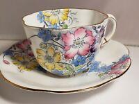 TAYLOR AND KENT Tea Cup and Saucer floral pattern teacup Longton England