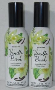 Bath & Body Works White Barn Concentrated Room Spray VANILLA BIRCH Lot Set of 2