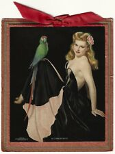 Vintage 1944 Pin-Up with Parrot Sitting Pretty Bradshaw Crandell Calendar Sample