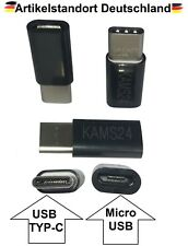 3er Adapter Typ C 3.1 zu Micro USB 2.0 B Stecker Buchse Tablet Konverter schwarz
