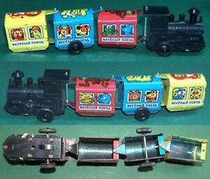 ONE VINTAGE WIND-UP TOY - JOLLY TRAIN, USSR/RUSSIA, 1970s