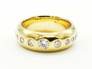 Schmuck 750 Gelbgold Ring massiver Band Ring 0,50 Carat Brillant Top Design