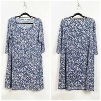 J. Jill Pure Jill 1X Plus Blue Print Knit Shift Dress
