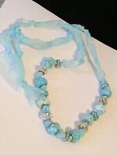 Beautiful Baby Blue Lampwork Glass Beads And Rhinestone On Satin Necklace #S21