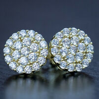 2Ct Round Cut VVS1/D Diamond Push Back Halo Stud Earrings 14K Yellow Gold Finish