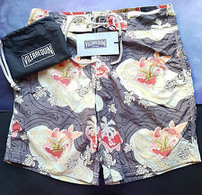 Vilebrequin Mens Swimming Surfer Shorts Ocean Turtle Colouring Size S 24/26 Grey