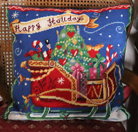 "16"" SQ Handmade Embroidered Wool Needlepoint Pillow Christmas Holidays Sleight"