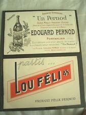 Buvards alcool Pernod pastis Lot N°9