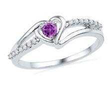 10k White Gold Womens Lab Amethyst Heart Love Ring 1/5 Cttw