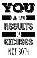Results Or Excuses Poster, 11x17 Inches, Wall Art Motivational