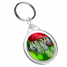 1 x Beautiful Butterfly Red Flowers - Keyring IR02 Mum Dad Birthday Gift #8892