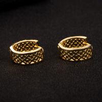 Shiny 18K Yellow Gold PL Filigree CutOut Grid Hollow Circle Huggie Earrings Gift