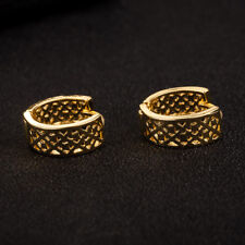 Shiny 18K Yellow Gold PL Filigree CutOut Grid Hollow Circle Huggie Earrings Gift