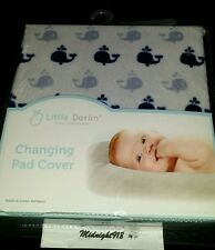 Luxury Linen For Baby Nautical Changing Pad Cover Grey Blue Whales Super Soft