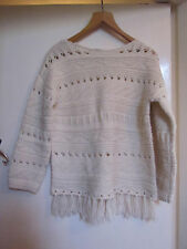 Cream Jumper with Tassles in Size 12 - mislabelled