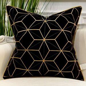 Avigers 20 x 20 Inches Black Gold Plaid Cushion Case Luxury European Throw Pillo