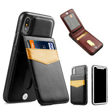 For iPhone X 6s 7 8 Plus Luxury Leather Card Holder Wallet Stand Back Cover Case