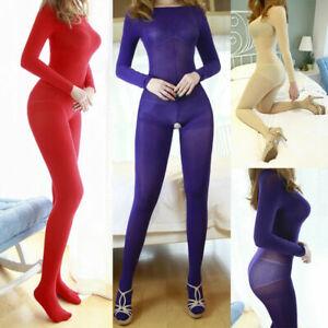 Women Velvet Full Bodystocking Shaping Bodysuit Semitransparent Catsuit Jumpsuit