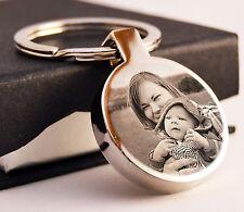 Metallo tondo Portachiavi la tua foto scritta Incisione personalizzata del papà