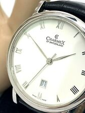 Charmex Swiss Men's Watch 38mm Silver Tone Case Roman Dial Black Leather Band