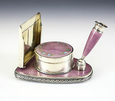 American Sterling Silver & Guilloche Enamel Desk Set, c.1900 Hand Painted 7toz
