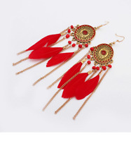 Fashion Bohemian Feather Tassel Dangle Earrings Vintage Gold Disc Chandelier