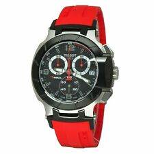Tissot T-Race Red Rubber Band Mens Chronograph New Watch T048.417.27.057.01