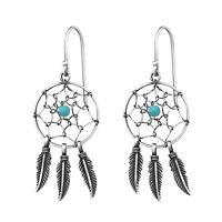 925 Sterling Silver Dream Catcher Drop/Dangle Earrings (Design 7)