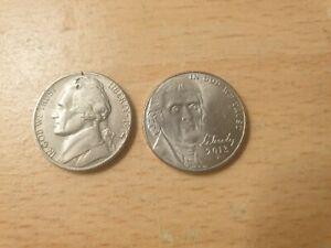 2 x USA 5 Cents (Jefferson Nickel) Copper Nickel Coins 1974, 2013P