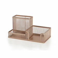 MODERN COPPER ROSE GOLD MESH WIRE OFFICE STATIONERY DESK TIDY PEN POT ORGANISER