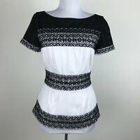 Cathrine Malandrino Blouse Size 2 Black Lace White Short Sleeve Career Womens