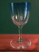 MOSER LOBMEYR QUATREFOIL LOBED CRYSTAL WINE GOBLET STEM, SHADES BLUE TO CLEAR